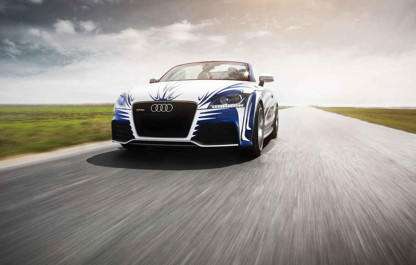 Photo wallpaper Audi, The sky, Clouds, Auto, Road, Tuning, Speed, Machine