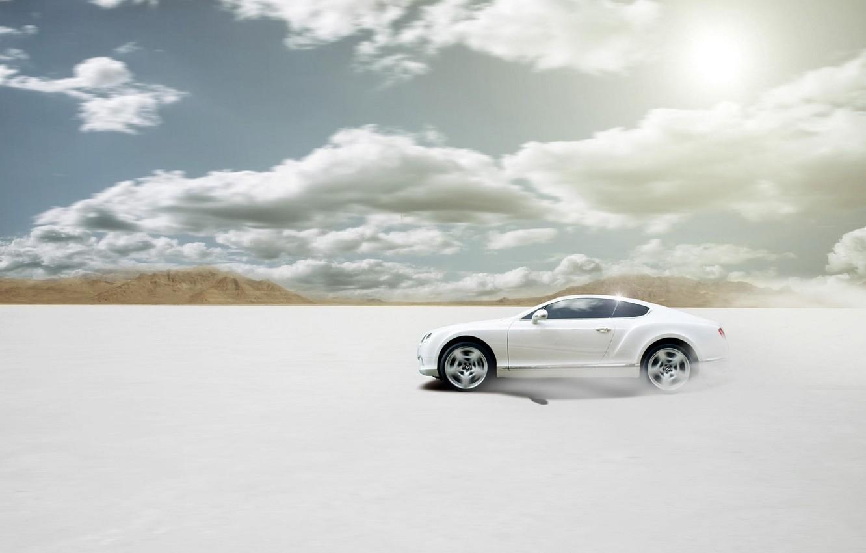 Photo wallpaper Bentley, Continental, Desert, White, Bentley, Car, Sun, White, Disert