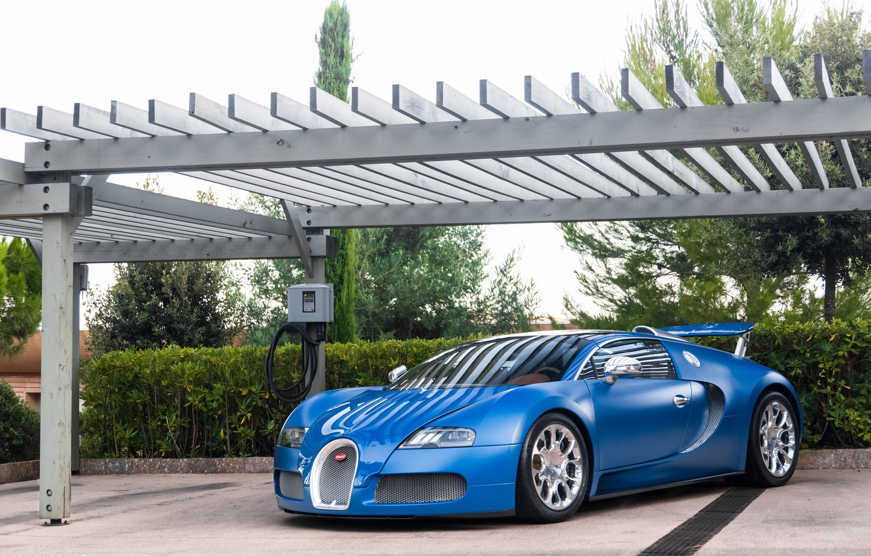 Photo wallpaper Bugatti, Grand, Veyron, blue, Sport