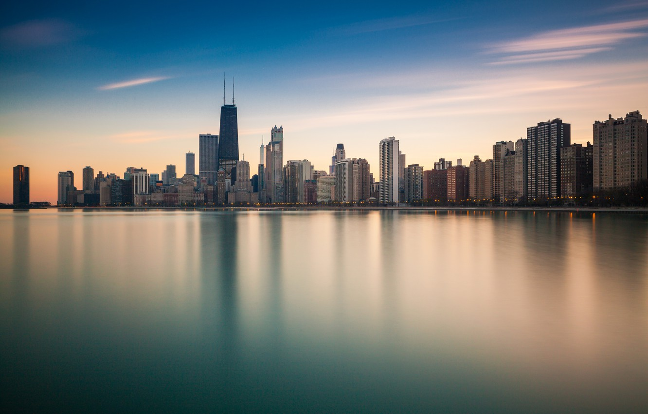 Photo wallpaper the city, reflection, the ocean, shore, skyscrapers, Chicago, Illinois, panorama