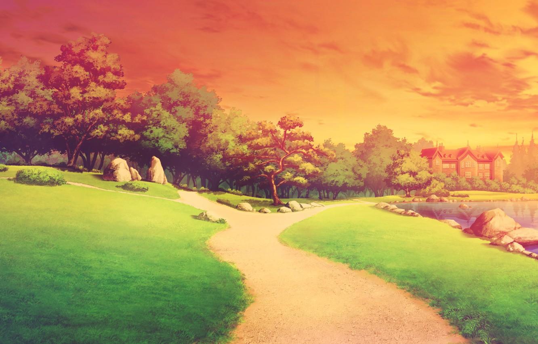 Photo wallpaper sunset, nature, landscapes, anime, art, shinsei ni shite okasubekarazu