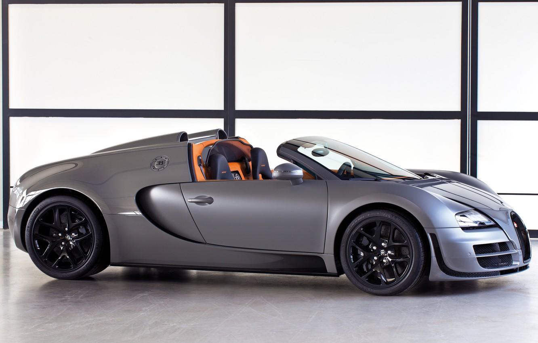 Photo wallpaper Roadster, Machine, Bugatti, Bugatti, Grey, Veyron, Veyron, Car, Car, Grey, Grand Sport, Grand Sport, Vitesse, …