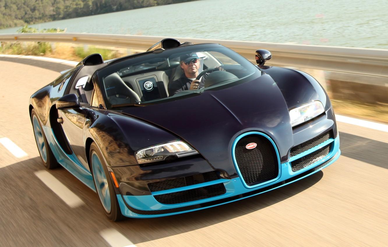 Photo wallpaper Roadster, Bugatti Veyron, black, blue, Grand Sport, Vitesse