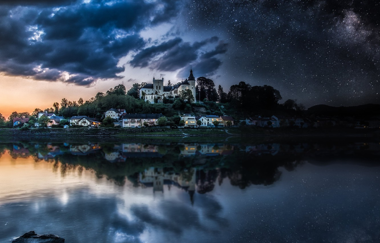 Photo wallpaper the sky, river, stars, Austria, houses, The Danube, castle Ottensheim