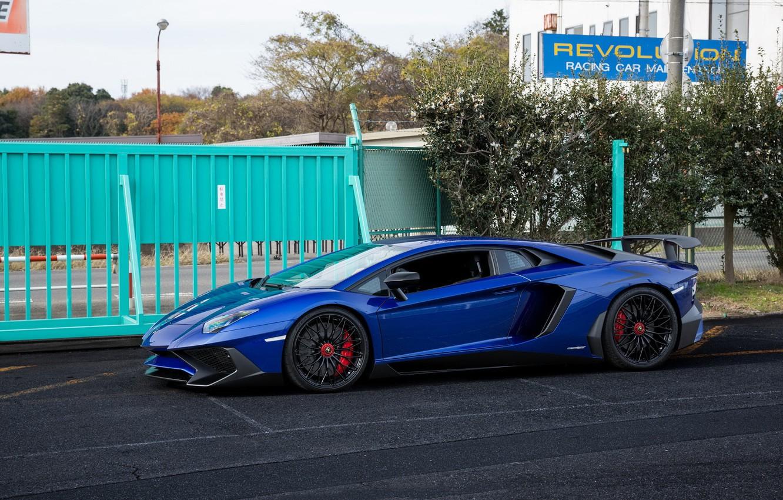 Photo wallpaper Lamborghini, Blue, Aventador, Superveloce, LP-750