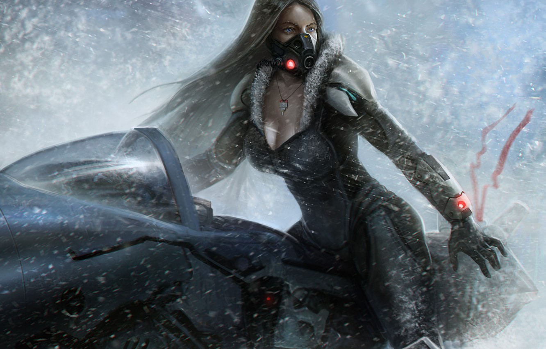 Photo wallpaper cold, girl, snow, transport, planet, mask, art, Salvador Trakal