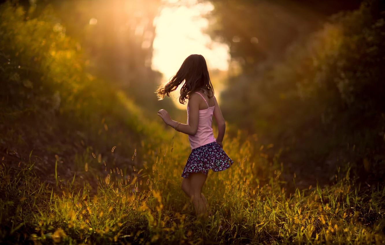 Photo wallpaper grass, nature, girl, bokeh, child
