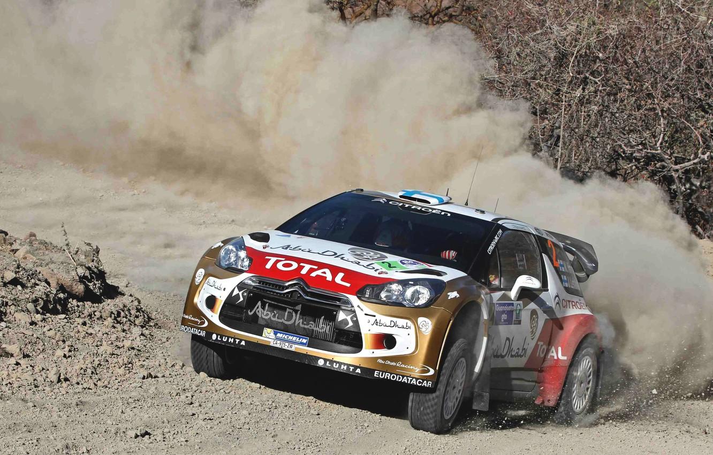 Photo wallpaper Auto, Dust, Sport, Machine, Turn, Race, Citroen, The hood, Citroen, Lights, DS3, WRC, Rally, Rally, …