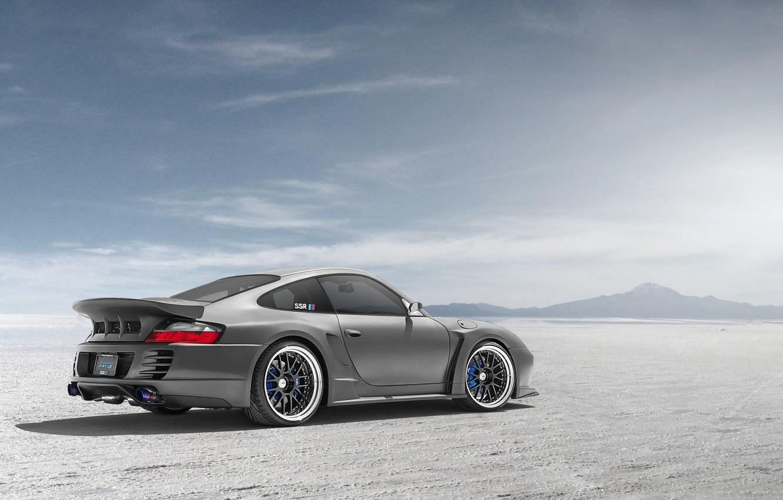 Photo wallpaper desert, Porsche, silver, Porsche, Blik, rear, silvery, 991, Widebody, 996, Top Secret, aerodynamic kit, SSR