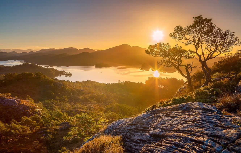 Photo wallpaper trees, mountains, lake, sunrise, dawn, Norway, panorama, Norway, Hordaland, Holsnøy, Storavatnet Lake
