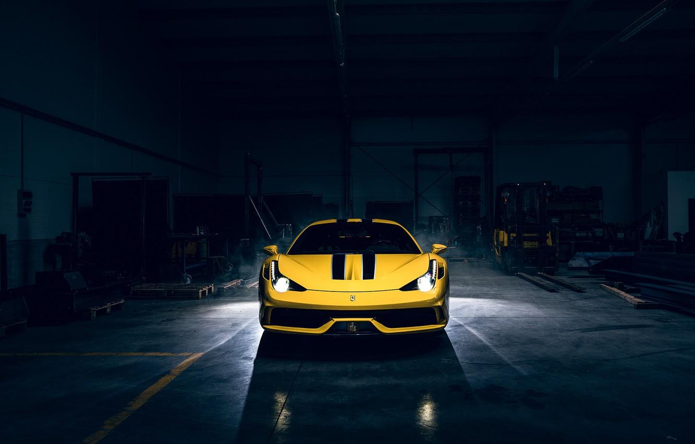 Photo wallpaper Dark, Light, Ferrari, 458, Front, Yellow, Supercar, Speciale, Garage