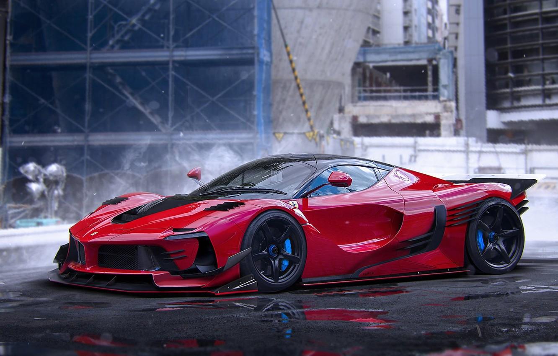 Photo wallpaper Ferrari, Red, Hot, Color, Rendering, Supercar, LaFerrari, by Khyzyl Saleem
