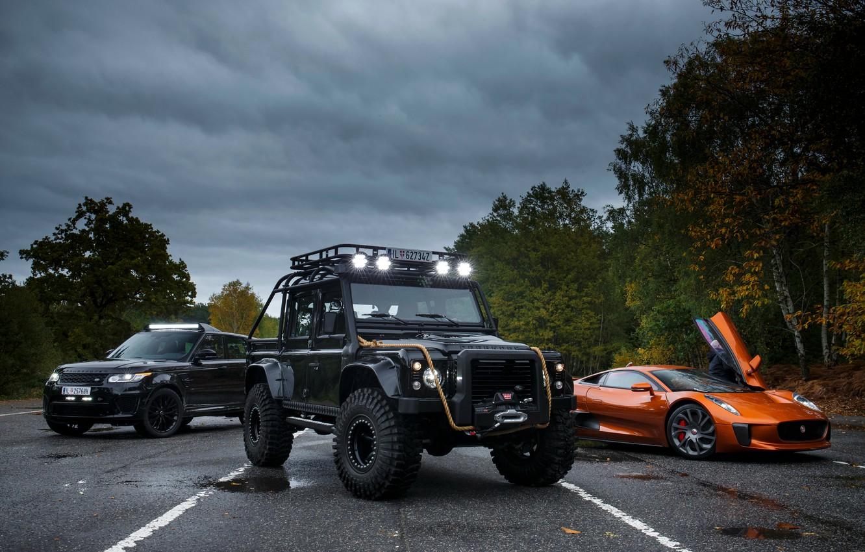 Photo wallpaper Jaguar, three, Land Rover, Defender, C-X75, 2015, 007 Spectre