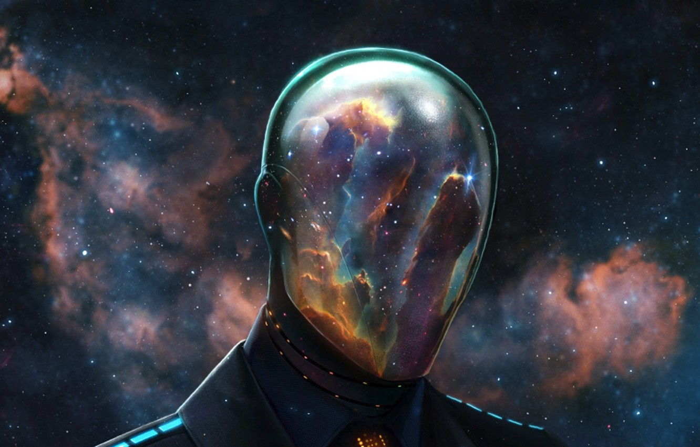 Photo wallpaper space, stars, nebula, people, the suit, mask, helmet