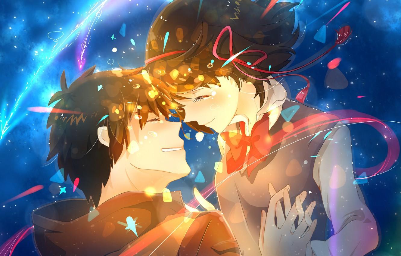 Wallpaper girl anime art guy two kimi no va on your name