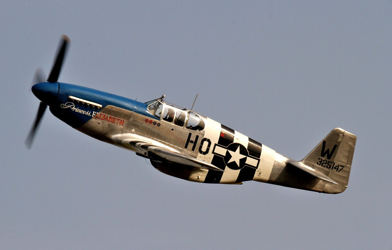 Photo wallpaper fighter, American, single, far, P-51C Mustang