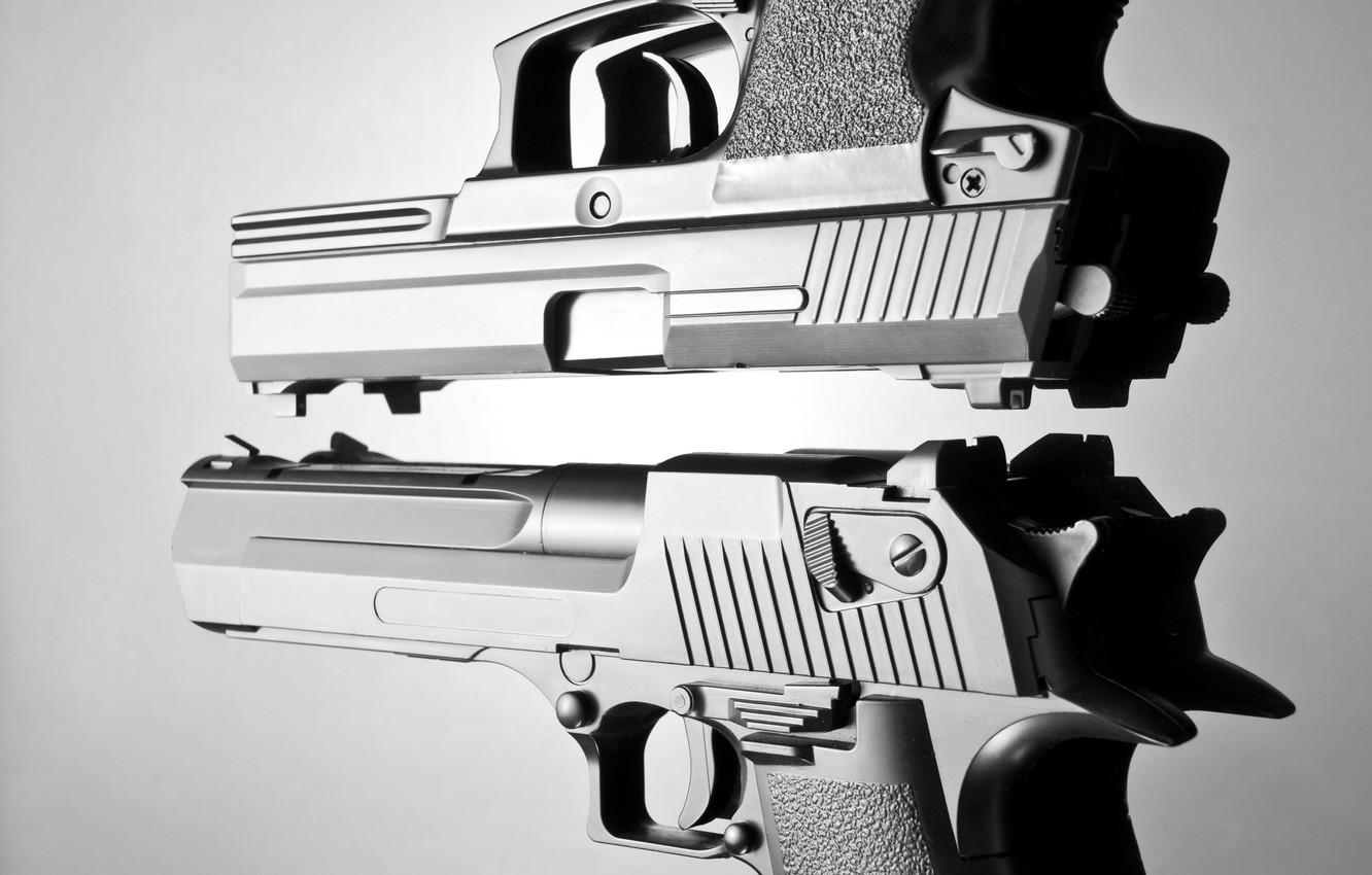 Photo wallpaper metal, gun, pistol, white, automatic, black, pistols, beautiful, and, defender, death, weapons, danger, hands, real, …