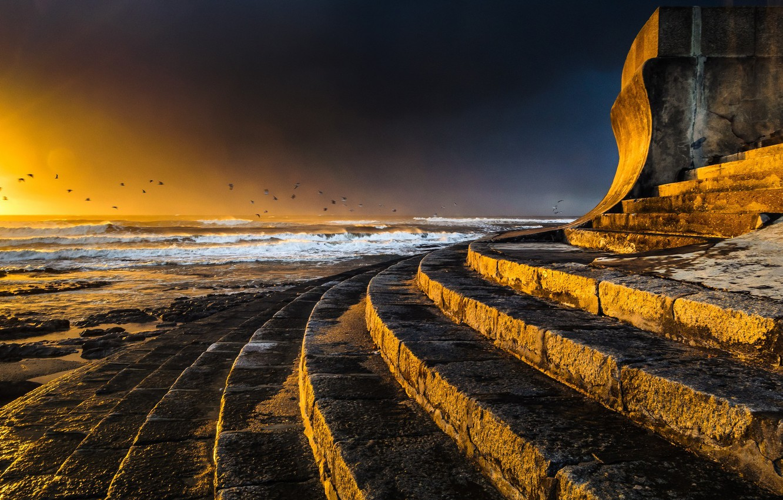 Photo wallpaper clouds, light, landscape, sunset, nature, light, nature, sunset, seascape, cloudscape