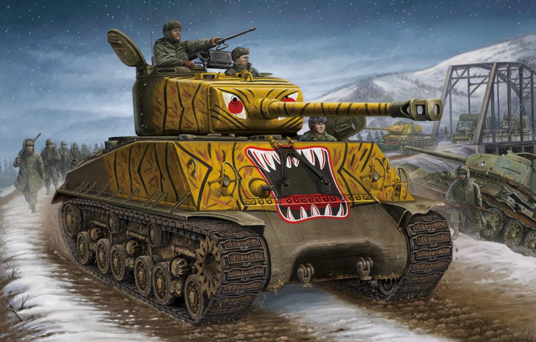 Wallpaper war, art, painting, tank, m4a3 Sherman images for desktop