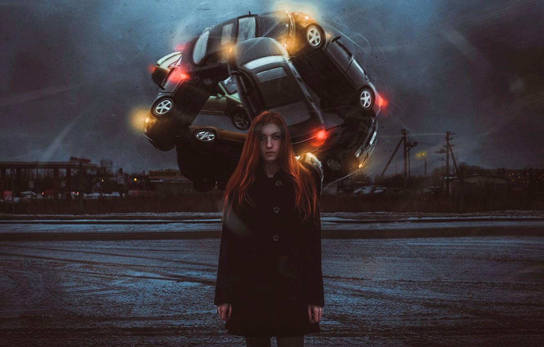 Photo wallpaper auto, girl, art, metamorphosis, tire