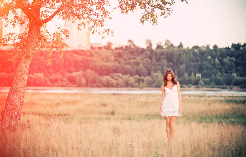 Photo wallpaper field, grass, girl, dress