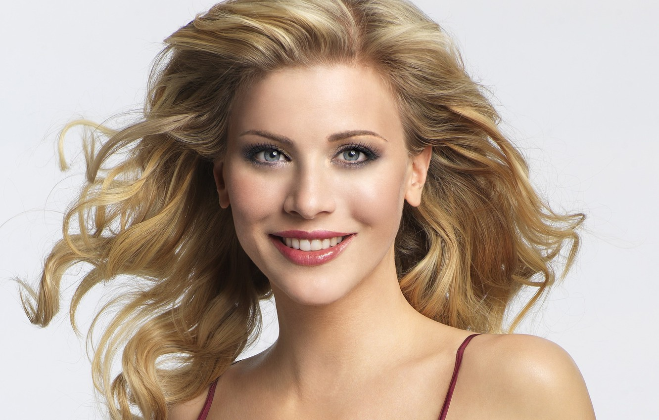 Photo wallpaper girl, smile, blonde, Eva Habermann