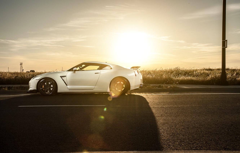 Photo wallpaper GTR, Nissan, white, wheels, sports car, side, Nissan, stance