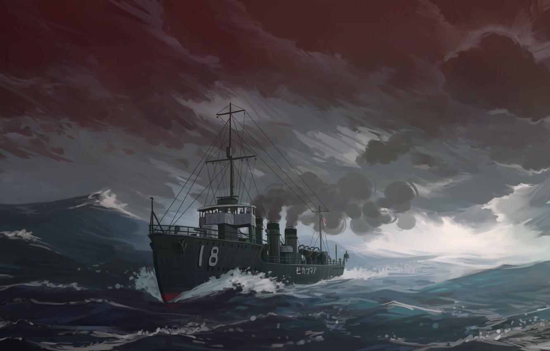 Photo wallpaper Sea, Figure, Ship, IJN destroyer Amatsukaze