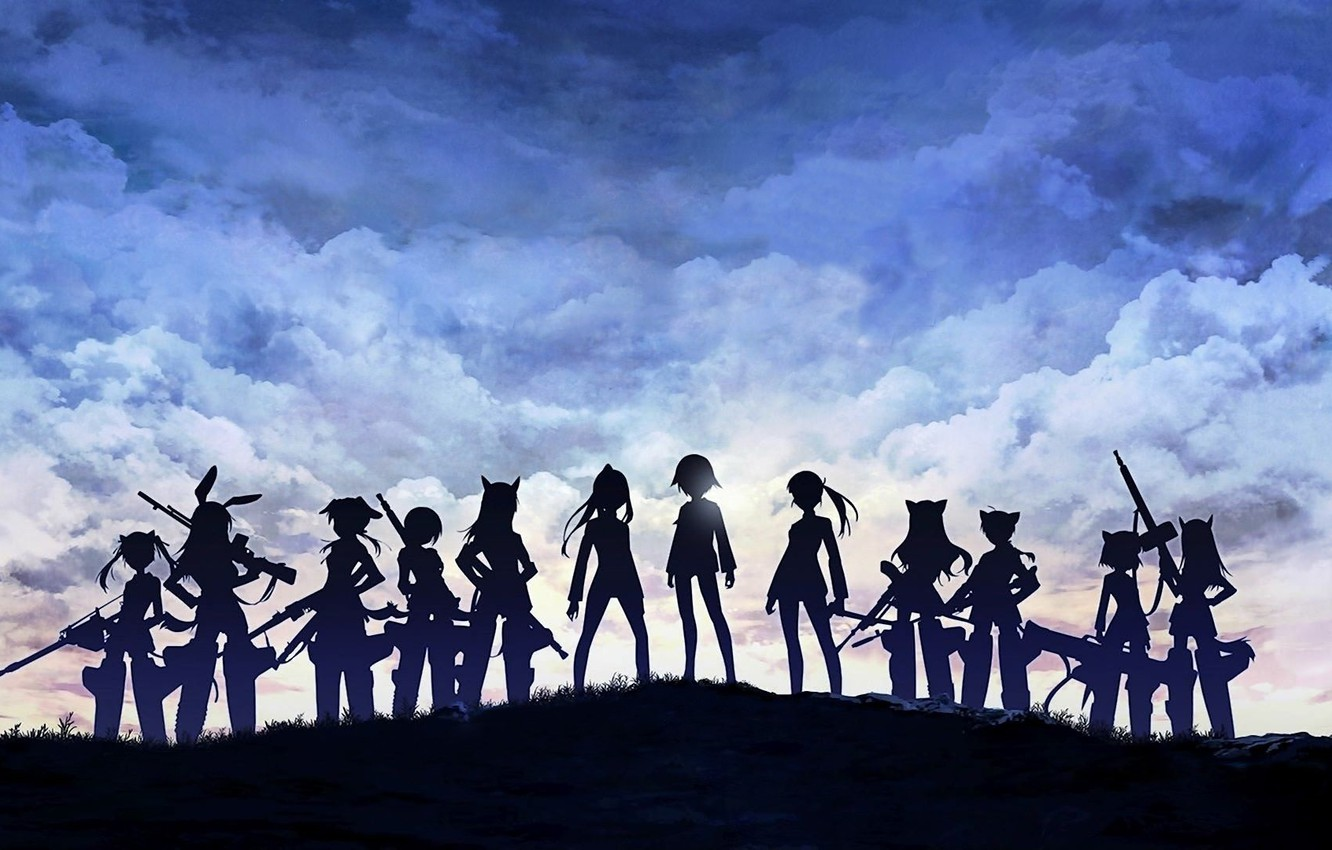 Photo wallpaper girls, anime, clouds, animal, weapons, strike witches, anime girls, ears