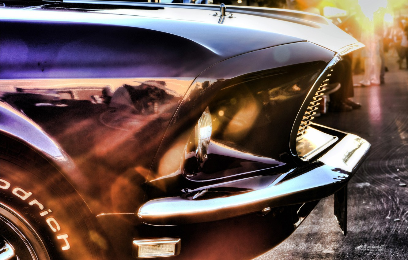 Photo wallpaper car, machine, rays, mustang, Mustang, the reflection, ford, Ford, muscle