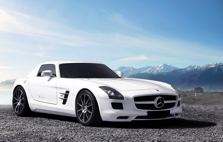 Photo wallpaper white, the sky, mountains, Mercedes-Benz, horizon, white, AMG, SLS, front, Mercedes Benz