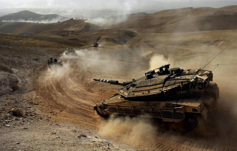 Photo wallpaper desert, dust, Tank