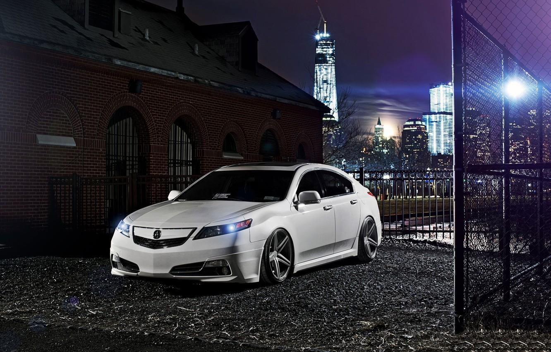 Photo wallpaper night, the city, tuning, white, honda, Honda, accord, chord, acura, Acura, tsx