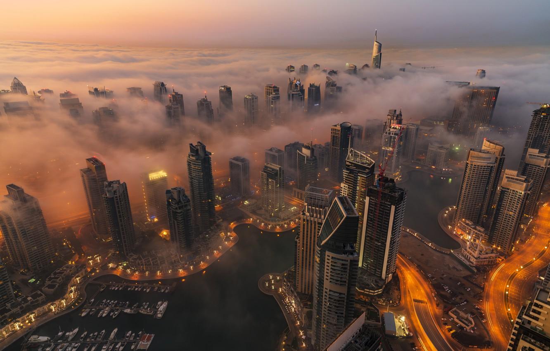 Photo wallpaper Clouds, Dubai, Landscape, Smoke, Skyscraper, Foggy