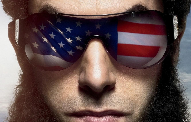 Photo wallpaper USA, USA, HAIR, MALE, GLASSES, FACE, FLAG, The DICTATOR, THE DICTATOR, BEARD