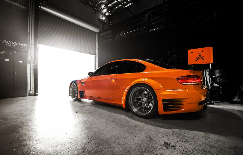 Photo wallpaper light, garage, BMW, GT2, orange, E92
