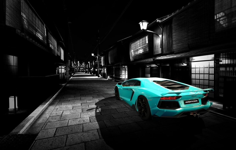 Photo wallpaper road, auto, Lamborghini, Machine, art, aventador