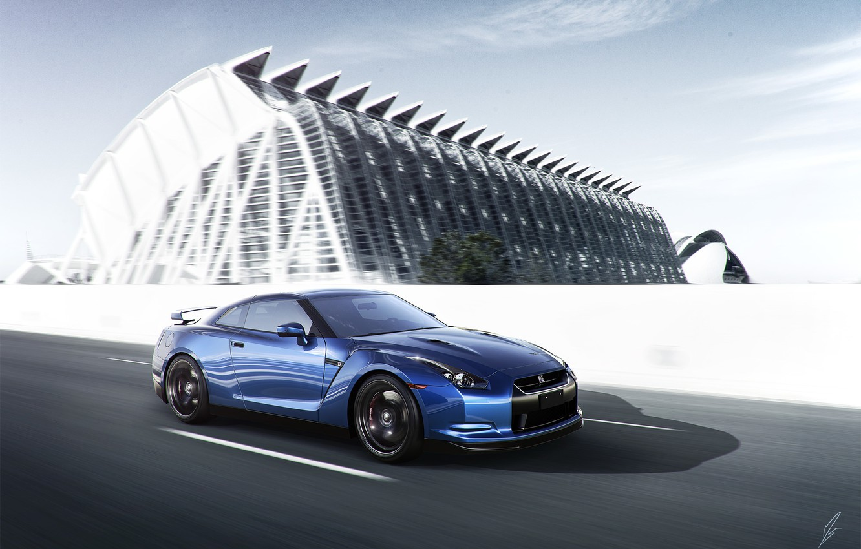 Photo wallpaper Nissan, GT-R, Car, Blue, Front, Sport, Road