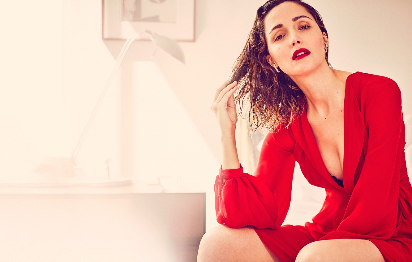 Photo wallpaper makeup, dress, actress, brunette, hairstyle, photographer, Playboy, in red, posing, sitting, Rose Byrne, Rose Byrne, …
