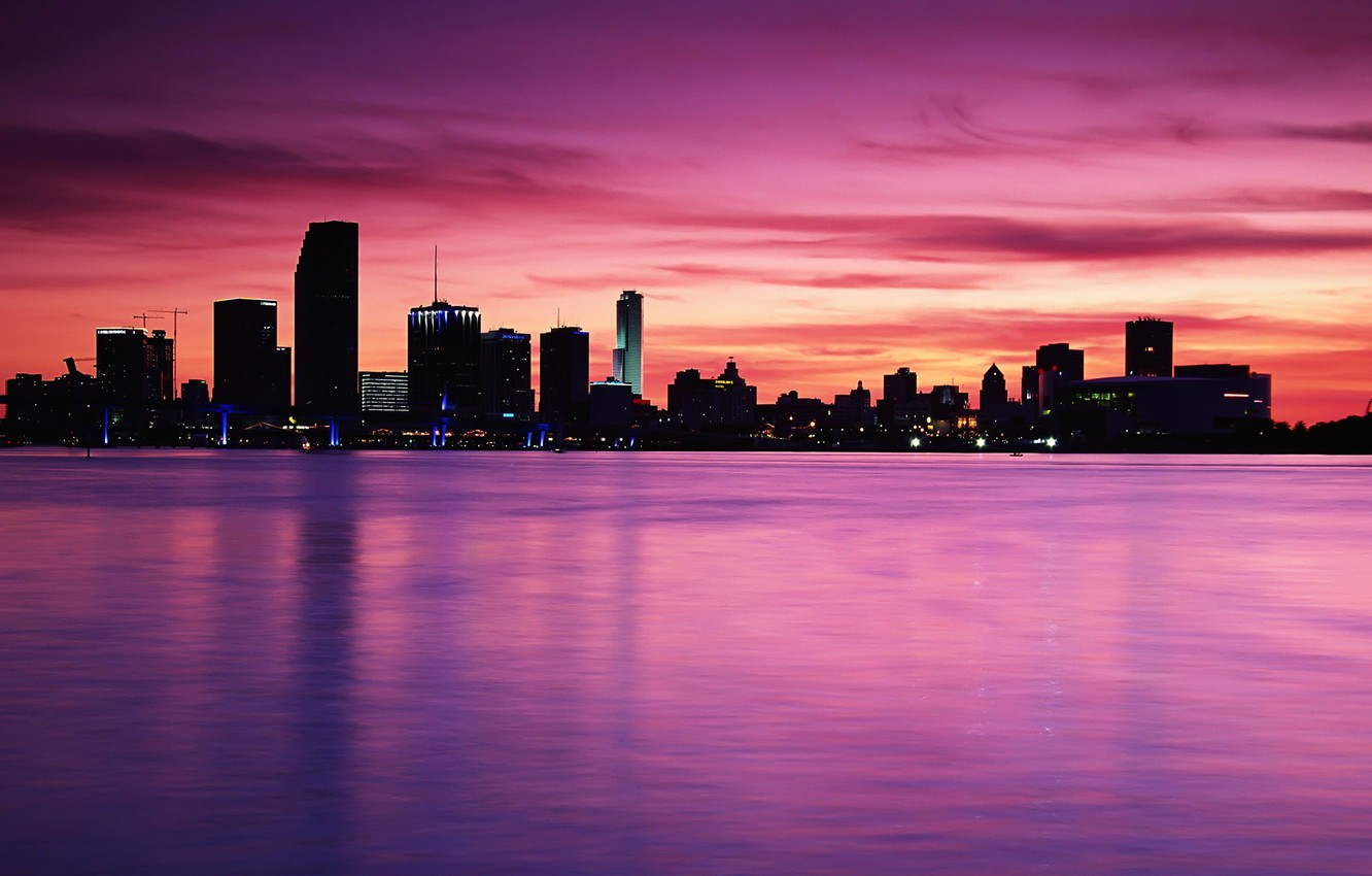 Photo wallpaper sea, the sky, water, the city, river, Shine, building, pink, the room