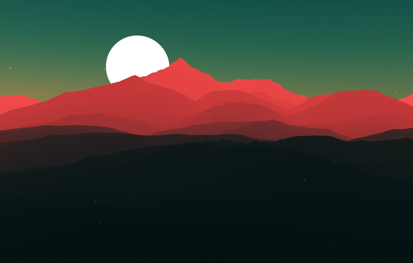 Photo wallpaper stars, mountains, red, the moon