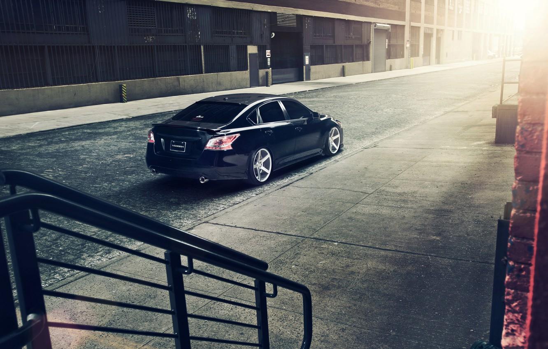 Photo wallpaper Nissan, black, Nissan, rearside, Altima
