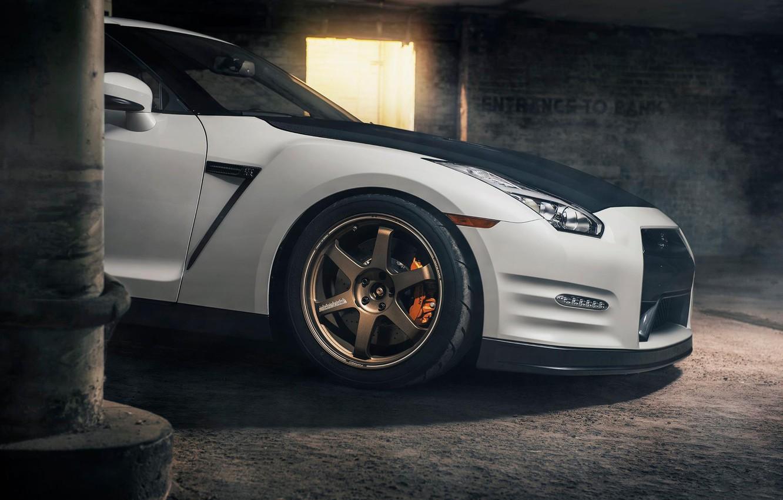 Photo wallpaper Nissan, GT-R, Car, Front, White, R35, Sport, EvoG