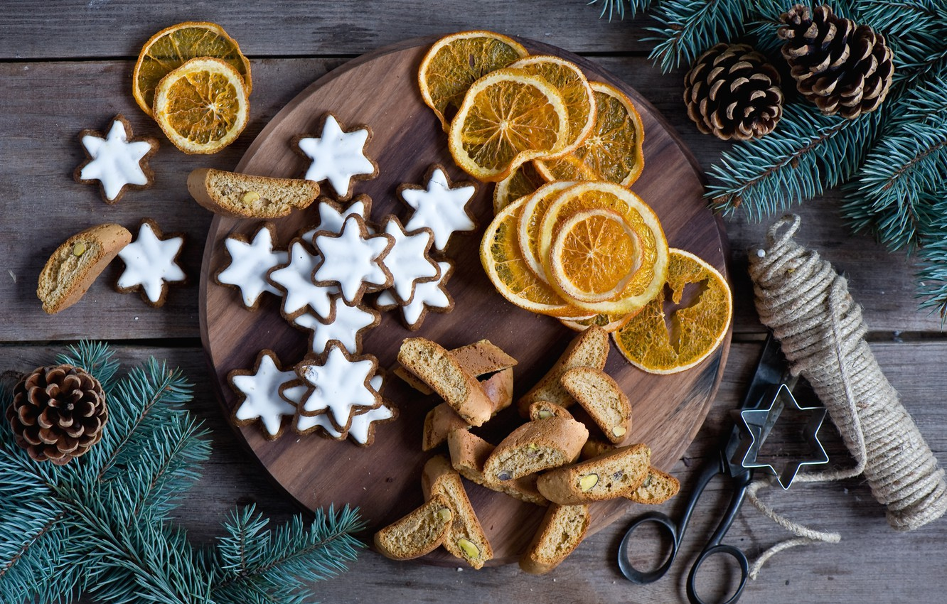 Photo wallpaper branches, spruce, oranges, New Year, cookies, Christmas, stars, bumps, holidays, glaze, Christmas