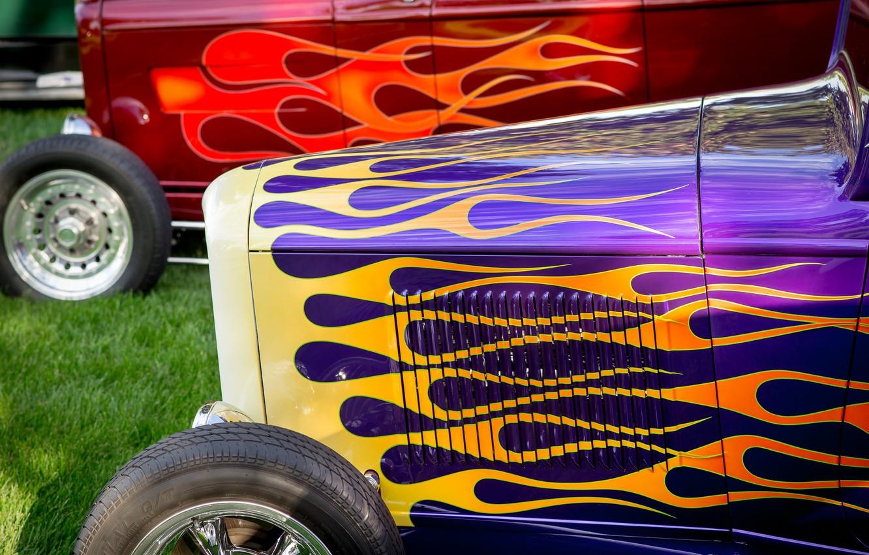 Photo wallpaper retro, airbrushing, classic, hot-rod, classic car