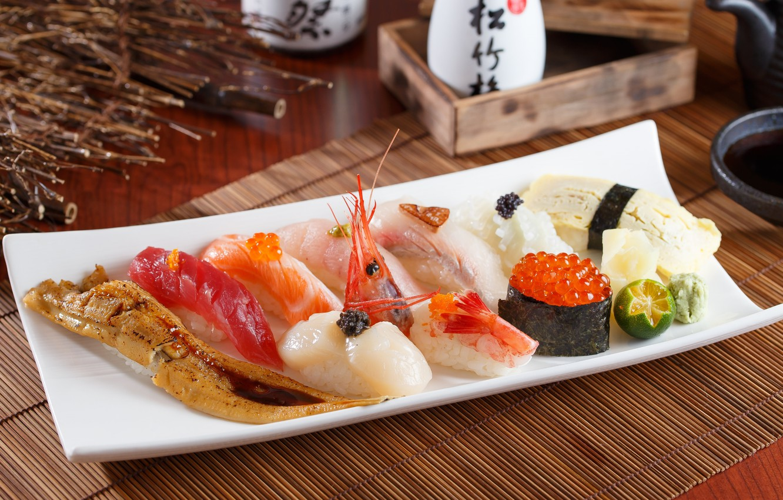 Photo wallpaper fish, lime, figure, caviar, sushi, shrimp, seafood