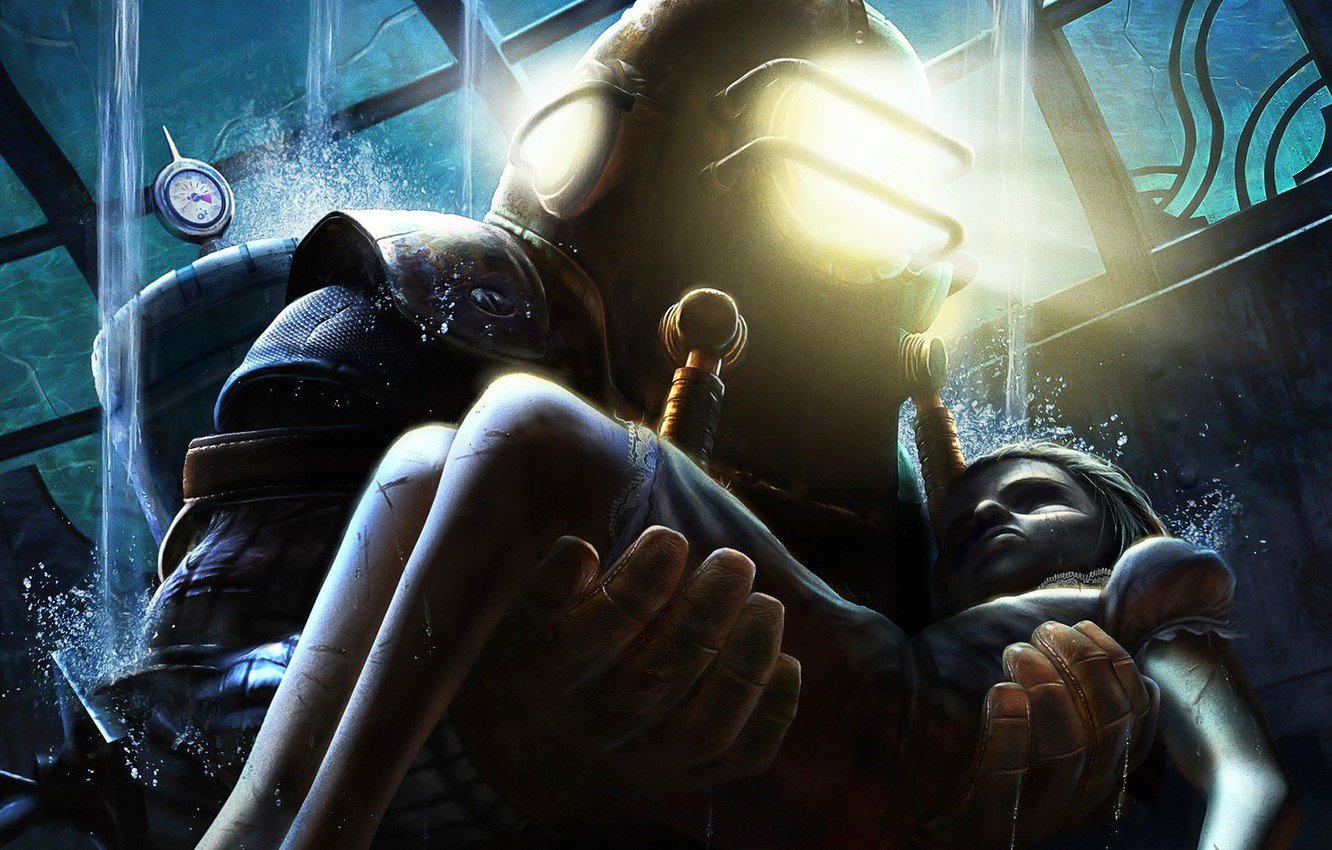 photo wallpaper the game girl big daddy bioshock