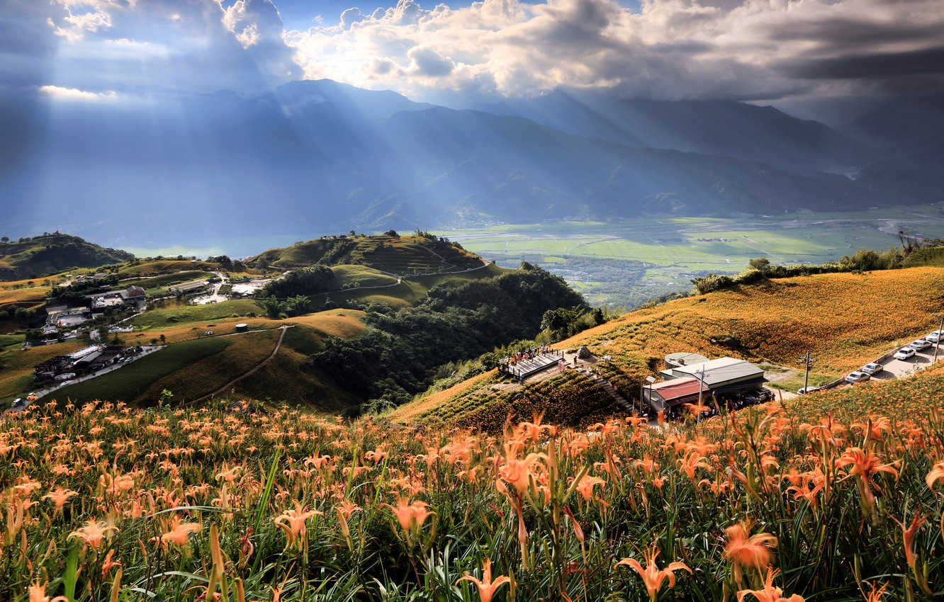 Photo wallpaper field, the sky, clouds, rays, light, trees, flowers, mountains, nature, house, hills, valley, Taiwan