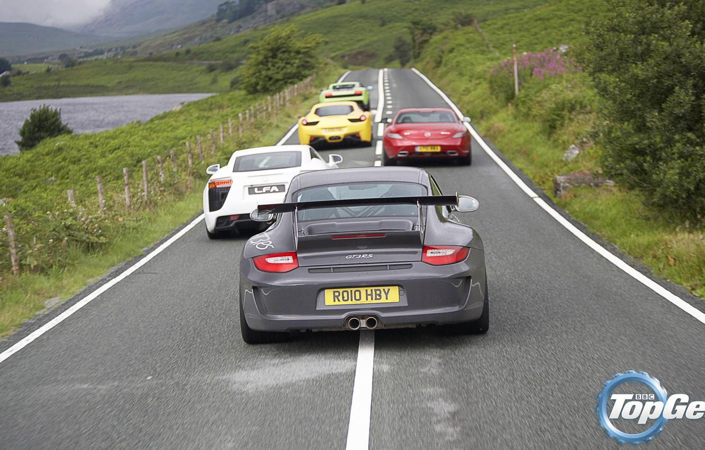 Photo wallpaper road, Mercedes-Benz, Lamborghini, Lexus, 911, Porsche, Ferrari, Mercedes, Lexus, Top Gear, Ferrari, Superleggera, Gallardo, Porsche, …