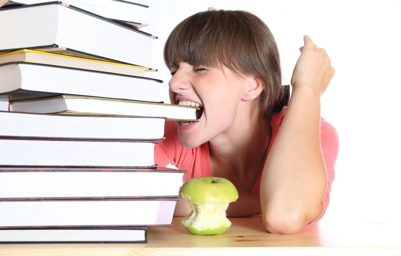 Photo wallpaper girl, study, books, Apple, schoolgirl, student, tired